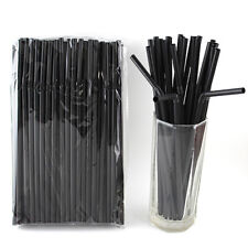 100 PCS Black Disposable Plastic Drinking Straw Flexible Suction Tube Sucker