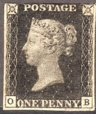 1840 1d  Black SG1 Mounted mint :  PL8 :Appears 4 margin : CAT £16000