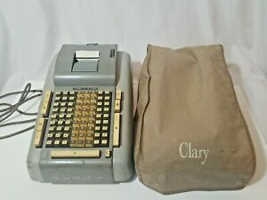 Vintage Clary Adding Machine With Cover, Works