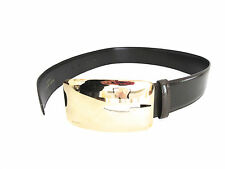 Gucci Women's Wide Gold Metal 'G' Brown Leather Belt, Made in Italy, Size 28