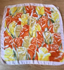 VINTAGE WOMENS SHEER SQUARE SCARF PRETTY YELLOW ORANGE FLORAL 80s (sc55)