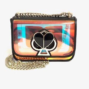 Kate Spade Nicola Chain Bag Iridescent Black Heart Heart Twist lock Purse