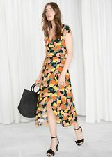 Women's & Other Stories Midi Curved Hem Wrap Dress Size 4 (Squ 238)