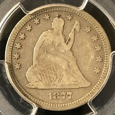 1877 25C Seated Liberty Quarter PCGS F Details      26927080