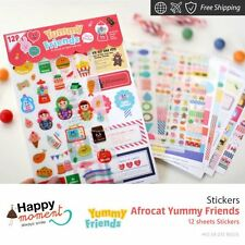 Afrocat Yummy Friends Stickers For Diary Day Planner & Organizer 12 sheets
