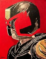 Judge Dredd Karl Urban hand painted fan art signed canvas comic book Stallone