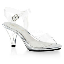 """3"""" Clear Princess Glass Slippers Low Heels Disney Theme Wedding Bridal Shoes"""