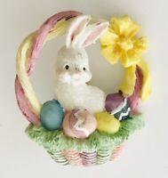 Easter Bunny In Basket Of Eggs Brooch Pin Badge Vintage Retro (L37)