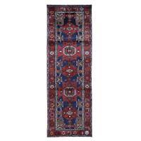 "3'4""x10'2"" Red New Farsian Amadan Geometric Design Runner Pure Wool Rug R49808"