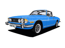 TRIUMPH STAG CAR ART PRINT (SIZE A4). CHOOSE YOUR COLOUR, ADD YOUR REG PLATE