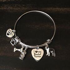 I Love My Pet Dog Boston Terrier Charm Bracelet Bangle Gift For Dog Lover