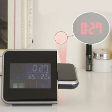 Digital LCD LED Projector Alarm Clock Weather Station Colorful Projecting Indoor