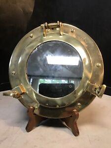 "Brass Porthole 9"" Mirror"