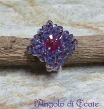 ANELLO artigianale fatto a mano perle cristalli Swarovski viola / rosa