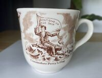 Vintage Commodore Perry's Flag/Bowed Not Beaten Porcelain Cup/Mug Made England