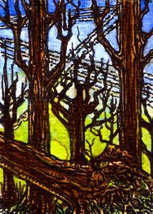 ACEO Outsider Art   ORIGINAL Ink Watercolor Drawing   THE DYING OF TREES