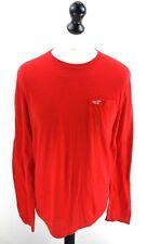 HOLLISTER Mens Long Sleeve T-Shirt Top M Medium Red Cotton & Polyester