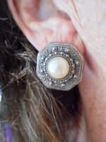 "Authentic Vintage ""1928 Jewelry"" Faux Pearl & Silver Tone Pierced Earrings"