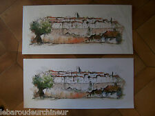 lithographies le village saint paul de vence . Lithographs signed by M. Boulet