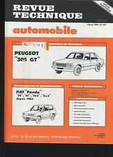 (33A) REVUE TECHNIQUE AUTOMOBILE PEUGEOT 305 GT / FIAT PANDA