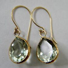 22k Solid Gold Amethyst Earrings Faceted Drop Dangle Jewelry