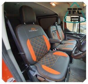 Ford Transit Custom SEAT COVERS ECO LEATHER Bentley Stitching Seats 2+1 3x LOGOS