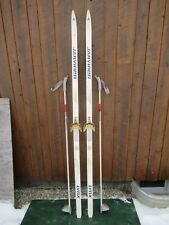 "Ready to Use Cross Country 73"" JARVINEN 190 cm Skis WAXLESS Base +  Poles"