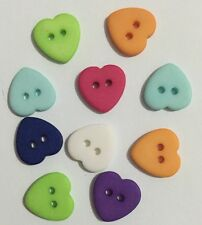 100pcs Heart Resin Buttons Utilitarian Sewing Scrapbooking Buttons Mixed Color