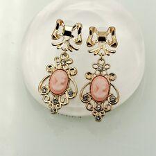 Boucles d'Oreilles Camées Rose Style Ancien Original Soirée Mariage Cadeau EE 6