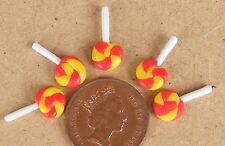 1:12 SCALA 5 Rosso & Giallo Lollipops in miniatura casa delle bambole Sweet Shop Accessorio F