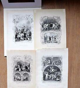 Students Vida En Alemania - 4 Unkolorierte Stahlstiche, Aprox. 1850 ,Buen Estado