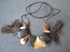 Vintage African Tuareg Leather, Shell and Feathers Amulet Talisman Necklace