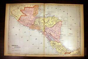 "Central America Map 1901 14½"" x 22"" Costa Rica Nicaragua Honduras Guatemala"