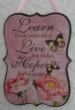 Shabby Chic Wall Wooden Plaque- Learn - Live - Hope - Pinkall