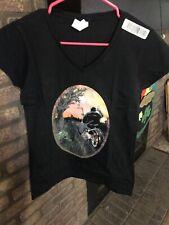 Womens Size Medium Biker Shirt V Neck Short Sleeve New