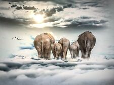 """perfect oil painting handpainted on canvas""""elephants walking in the sky""""@2330"""