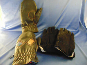 Winter gloves black suede leather mittens size 8 skiing snow cold weather cool