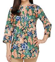 Liz Claiborne NY 3/4 Sleeve Floral Print Button Front Tunic Blue Sz 8 Blouse