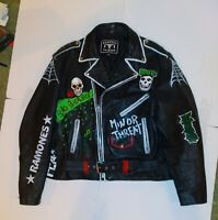 Punk Leather Jacket Size 52 ,Dead Kennedys, TSOL, Misfits,Hand painted.
