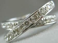 Estate Wide Pave Diamond 14K White Gold Right Hand Crossover Ring 8Mm #L1332.5.4