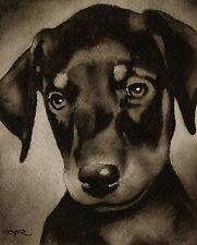 Doberman Pinscher Puppy Watercolor Art Print Signed by Artist Djr
