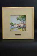 Tableau Paysage Provençal émaux CARREAU Céramique Giraud Vallauris design 1950