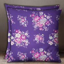 S4Sassy 2 Pcs Floral Print Purple Square Cotton Poplin Cushion Cover Home Decor