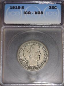 1915-S  Barber Quarter, ICG  VG 8, Issue free, Rare Date