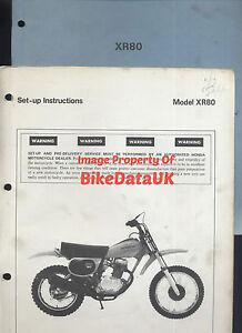 Honda XR80 (1979) Genuine PDI Set-Up Manual XR 80 Enduro HE01 Mini-Trail BX71