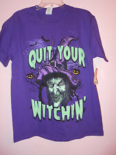"""Halloween Purple Mens T-Shirt Size M 38/40 """"Quit Your Witchin"""" New With Tags"""