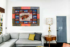 wall Rug oriental silk carpet Afghanistan map wooden frame Calligraphy Teppich