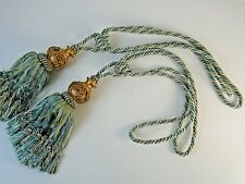 "Vintage Pair of Blue & Gold Curtain Drape Rope Tie Backs Tassel Fringe 17"""