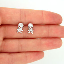 Sterling Silver 925 skeleton Skull Earrings Post Earring micro pave CZ Stud E23