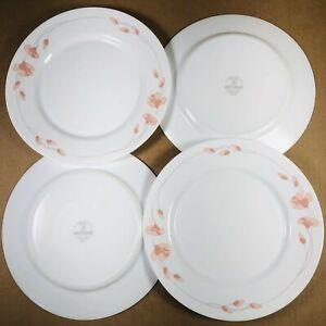 "Arcopal Pink Flowers Milk White 11"" Dinner Plate Set"